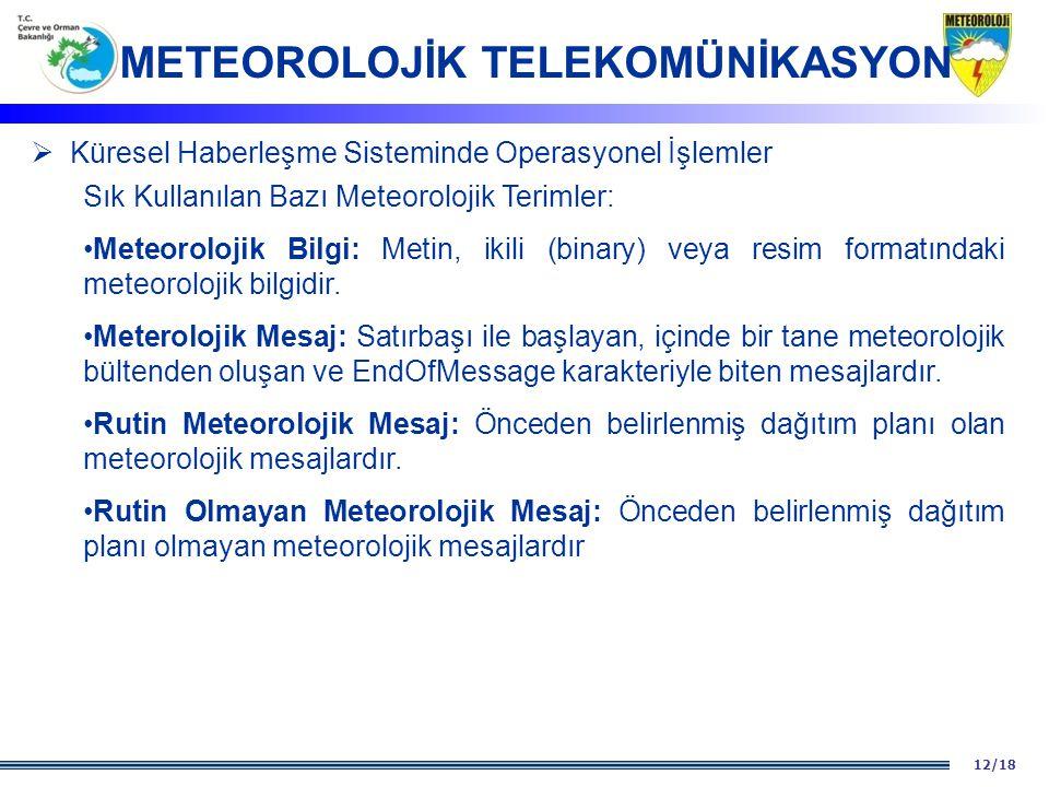 12/18  Küresel Haberleşme Sisteminde Operasyonel İşlemler Sık Kullanılan Bazı Meteorolojik Terimler: Meteorolojik Bilgi: Metin, ikili (binary) veya r