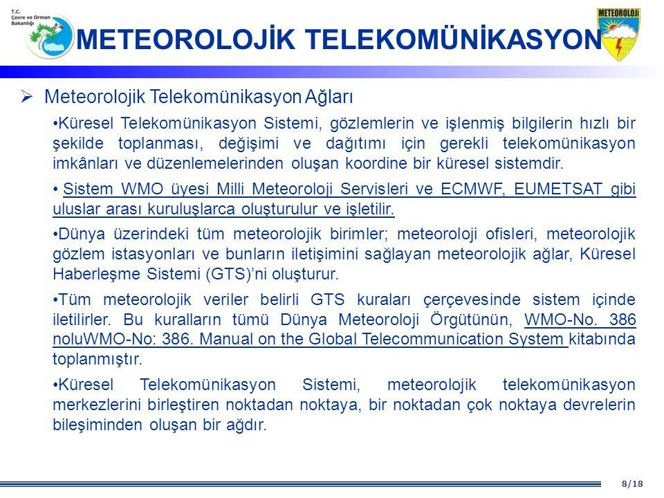 8/18  Meteorolojik Telekomünikasyon Ağları Küresel Telekomünikasyon Sistemi, gözlemlerin ve işlenmiş bilgilerin hızlı bir şekilde toplanması, değişim