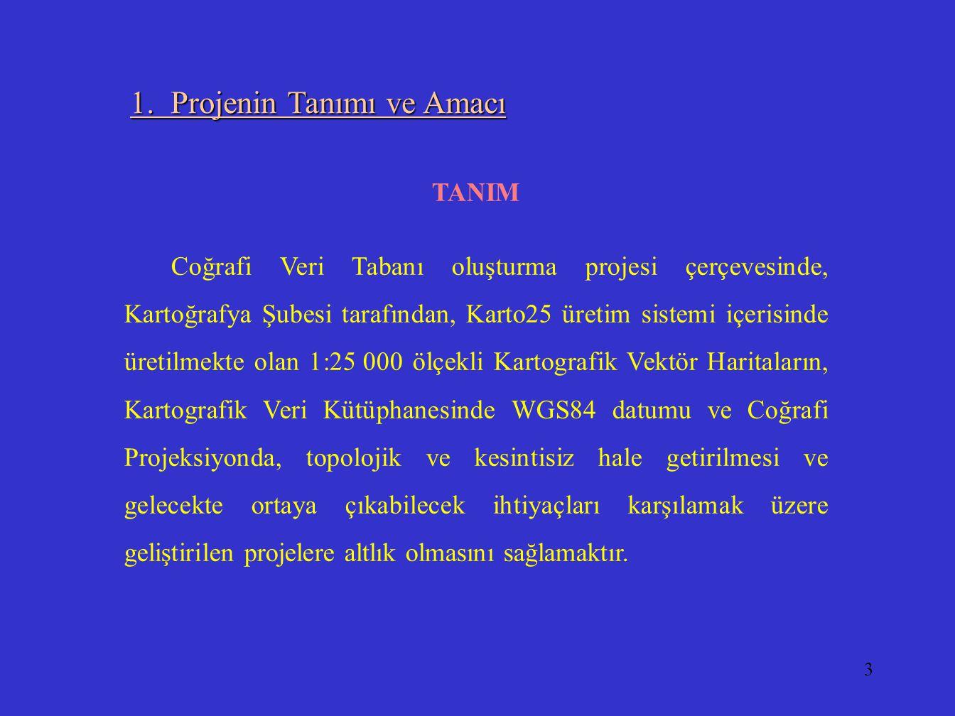 3 1. Projenin Tanımı ve Amacı TANIM Coğrafi Veri Tabanı oluşturma projesi çerçevesinde, Kartoğrafya Şubesi tarafından, Karto25 üretim sistemi içerisin