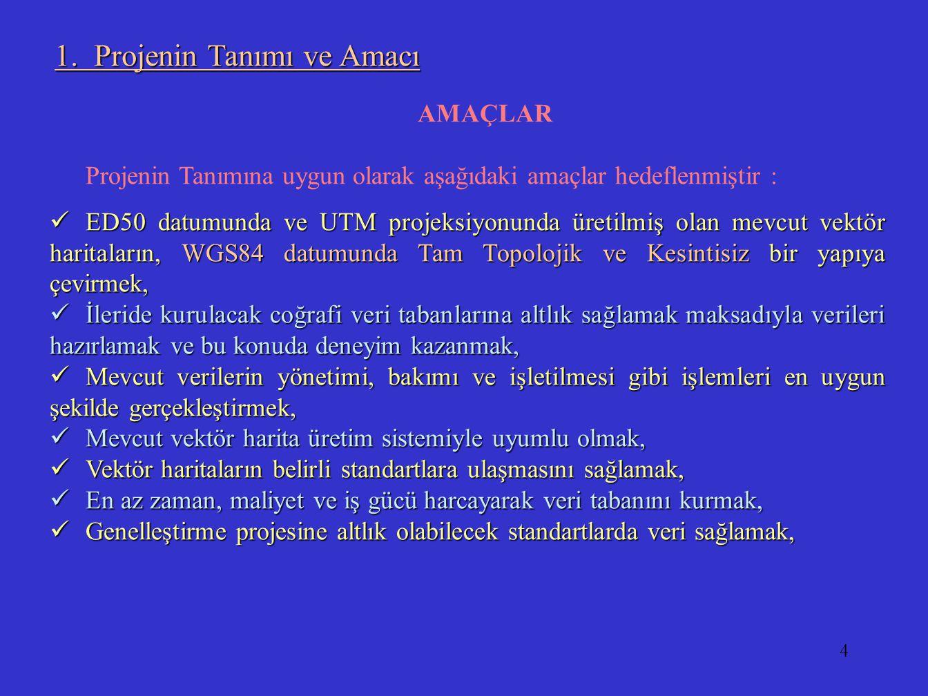 4 AMAÇLAR Projenin Tanımına uygun olarak aşağıdaki amaçlar hedeflenmiştir : ED50 datumunda ve UTM projeksiyonunda üretilmiş olan mevcut vektör harital