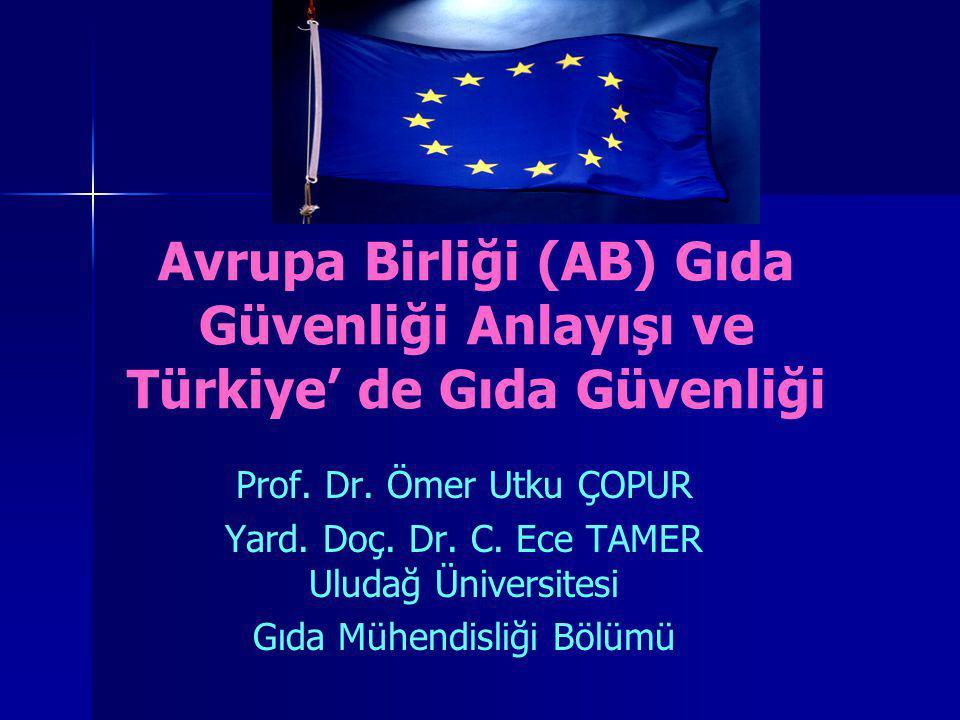 Avrupa Birliği (AB) Gıda Güvenliği Anlayışı ve Türkiye' de Gıda Güvenliği Prof. Dr. Ömer Utku ÇOPUR Yard. Doç. Dr. C. Ece TAMER Uludağ Üniversitesi Gı