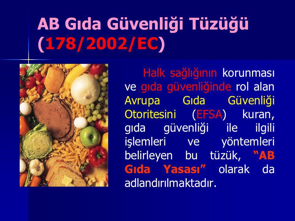 AB Gıda Güvenliği Tüzüğü (178/2002/EC) Halk sağlığının korunması ve gıda güvenliğinde rol alan Avrupa Gıda Güvenliği Otoritesini (EFSA) kuran, gıda gü