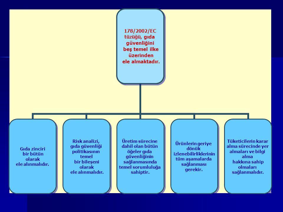 178/2002/EC tüzüğü, gıda güvenliğini beş temel ilke üzerinden ele almaktadır. Gıda zinciri bir bütün olarak ele alınmalıdır. Risk analizi, gıda güvenl
