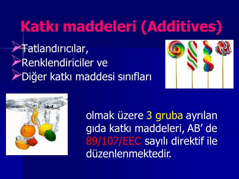 Katkı maddeleri (Additives)   Tatlandırıcılar,   Renklendiriciler ve   Diğer katkı maddesi sınıfları olmak üzere 3 gruba ayrılan gıda katkı madd