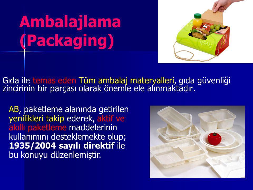 Ambalajlama (Packaging) Gıda ile temas eden Tüm ambalaj materyalleri, gıda güvenliği zincirinin bir parçası olarak önemle ele alınmaktadır. AB, paketl