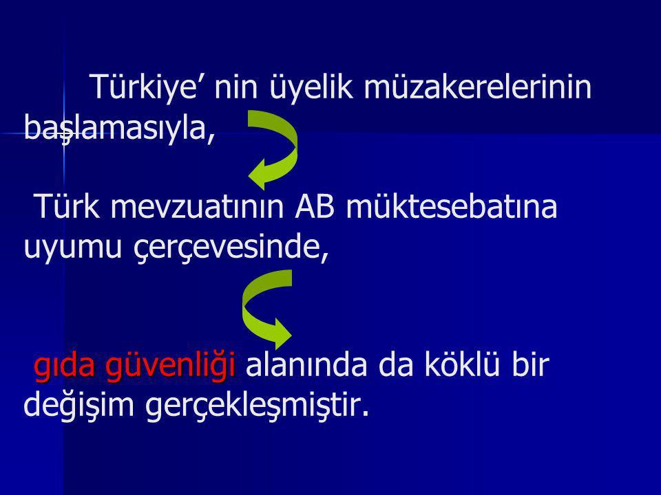 gıda güvenliği Türkiye' nin üyelik müzakerelerinin başlamasıyla, Türk mevzuatının AB müktesebatına uyumu çerçevesinde, gıda güvenliği alanında da kökl