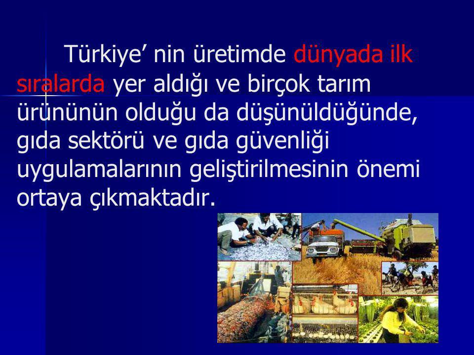 Türkiye' nin üretimde dünyada ilk sıralarda yer aldığı ve birçok tarım ürününün olduğu da düşünüldüğünde, gıda sektörü ve gıda güvenliği uygulamaların