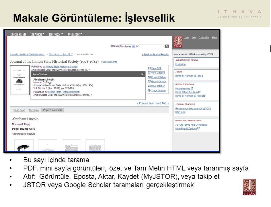 Makale Görüntüleme: İşlevsellik Bu sayı içinde tarama PDF, mini sayfa görüntüleri, özet ve Tam Metin HTML veya taranmış sayfa Atıf: Görüntüle, Eposta,