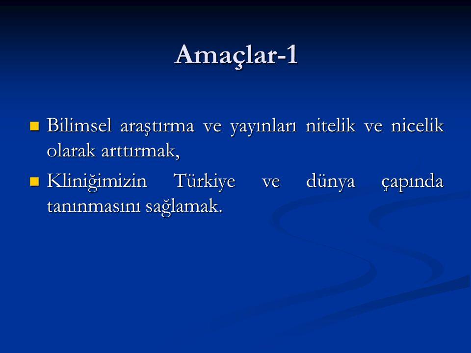 Amaçlar-1 Bilimsel araştırma ve yayınları nitelik ve nicelik olarak arttırmak, Bilimsel araştırma ve yayınları nitelik ve nicelik olarak arttırmak, Kliniğimizin Türkiye ve dünya çapında tanınmasını sağlamak.