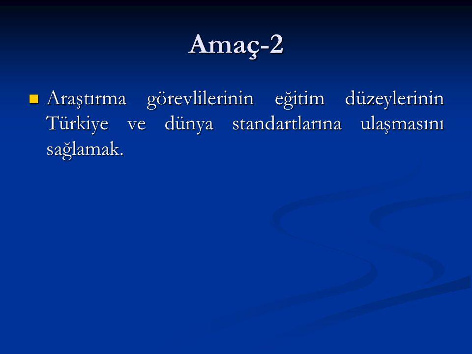 Amaç-2 Araştırma görevlilerinin eğitim düzeylerinin Türkiye ve dünya standartlarına ulaşmasını sağlamak.