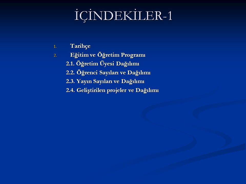 İÇİNDEKİLER-1 1. Tarihçe 2. Eğitim ve Öğretim Programı 2.1.