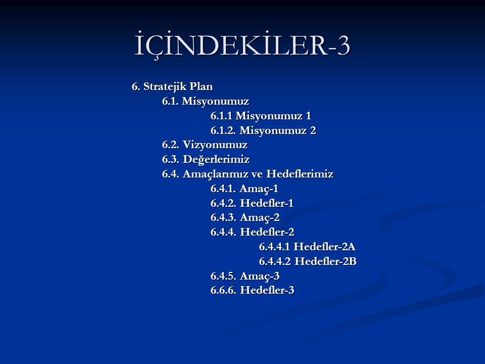 İÇİNDEKİLER-3 6. Stratejik Plan 6.1. Misyonumuz 6.1.1 Misyonumuz 1 6.1.2.