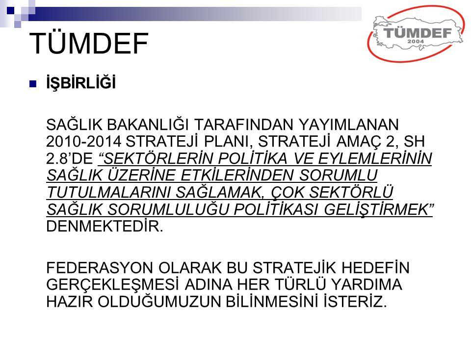 """TÜMDEF İŞBİRLİĞİ SAĞLIK BAKANLIĞI TARAFINDAN YAYIMLANAN 2010-2014 STRATEJİ PLANI, STRATEJİ AMAÇ 2, SH 2.8'DE """"SEKTÖRLERİN POLİTİKA VE EYLEMLERİNİN SAĞ"""