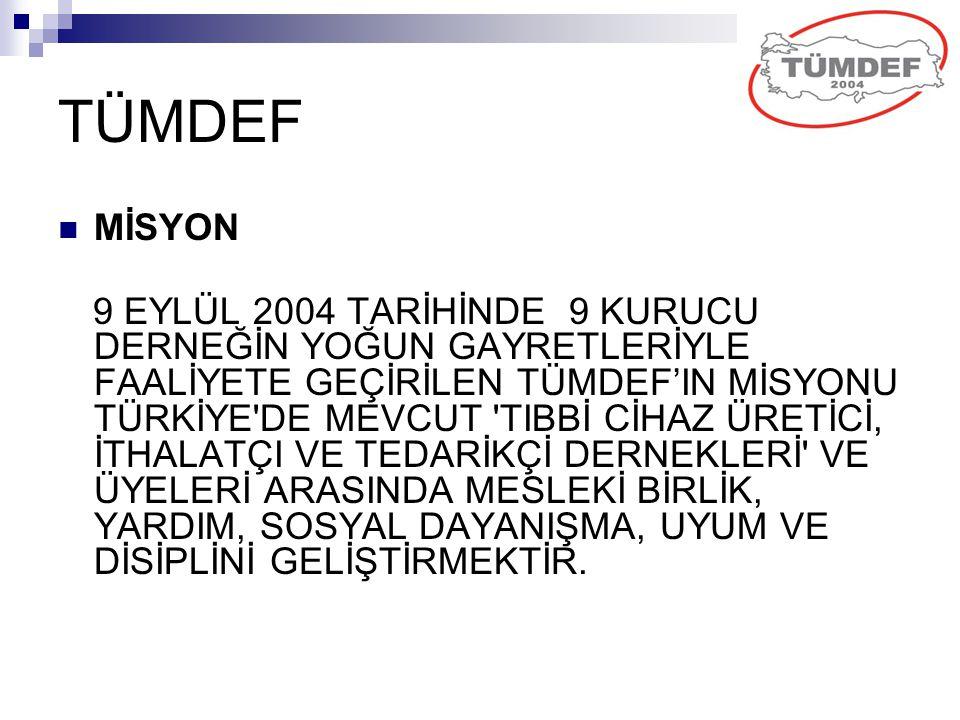 TÜMDEF MİSYON 9 EYLÜL 2004 TARİHİNDE 9 KURUCU DERNEĞİN YOĞUN GAYRETLERİYLE FAALİYETE GEÇİRİLEN TÜMDEF'IN MİSYONU TÜRKİYE'DE MEVCUT 'TIBBİ CİHAZ ÜRETİC