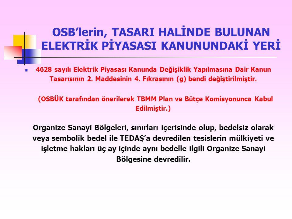 OSB'lerin, TASARI HALİNDE BULUNAN ELEKTRİK PİYASASI KANUNUNDAKİ YERİ 4628 sayılı Elektrik Piyasası Kanunda Değişiklik Yapılmasına Dair Kanun Tasarısın