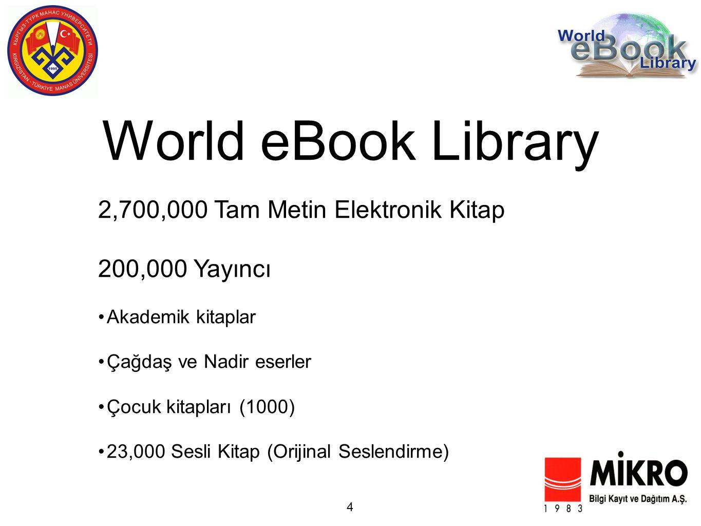 World eBook Library 4 2,700,000 Tam Metin Elektronik Kitap 200,000 Yayıncı Akademik kitaplar Çağdaş ve Nadir eserler Çocuk kitapları (1000) 23,000 Sesli Kitap (Orijinal Seslendirme)