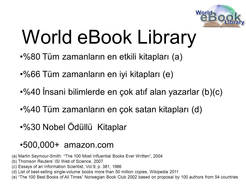World eBook Library %80 Tüm zamanların en etkili kitapları (a) %66 Tüm zamanların en iyi kitapları (e) %40 İnsani bilimlerde en çok atıf alan yazarlar (b)(c) %40 Tüm zamanların en çok satan kitapları (d) %30 Nobel Ödüllü Kitaplar 500,000+ amazon.com (a)Martin Seymour-Smith: The 100 Most Influential Books Ever Written , 2004 (b)Thomson Reuters' ISI Web of Science, 2007.