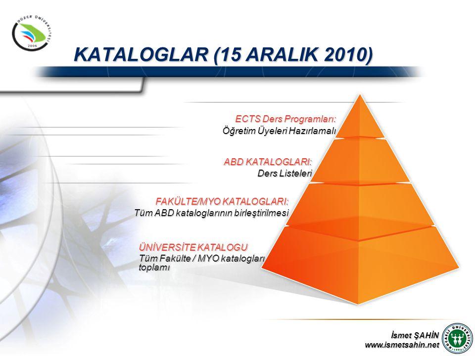 www.ismetsahin.net KATALOGLAR (15 ARALIK 2010) ÜNİVERSİTE KATALOGU Tüm Fakülte / MYO katalogları toplamı FAKÜLTE/MYO KATALOGLARI: Tüm ABD kataloglarının birleştirilmesi ABD KATALOGLARI: Ders Listeleri ECTS Ders Programları: Öğretim Üyeleri Hazırlamalı