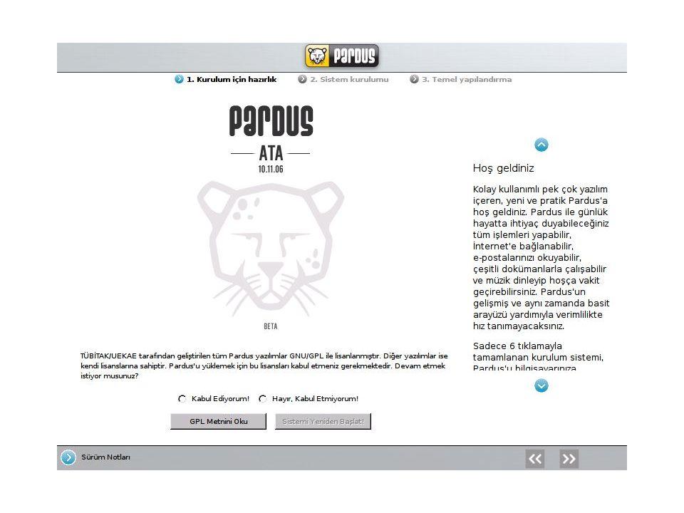 Yenilikler ; Pardus 1.1 ile birlikte, açılışta başlatılan sunucu ve servislerin kolayca yönetilebilmesi için bir servis yöneticisi geldi.