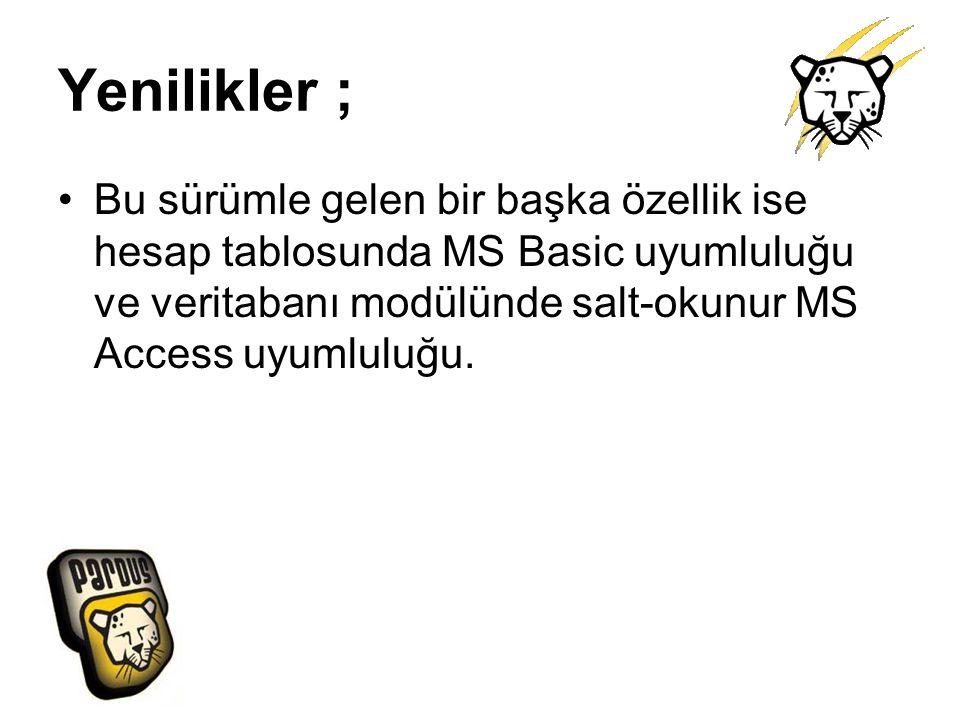 Yenilikler ; Bu sürümle gelen bir başka özellik ise hesap tablosunda MS Basic uyumluluğu ve veritabanı modülünde salt-okunur MS Access uyumluluğu.