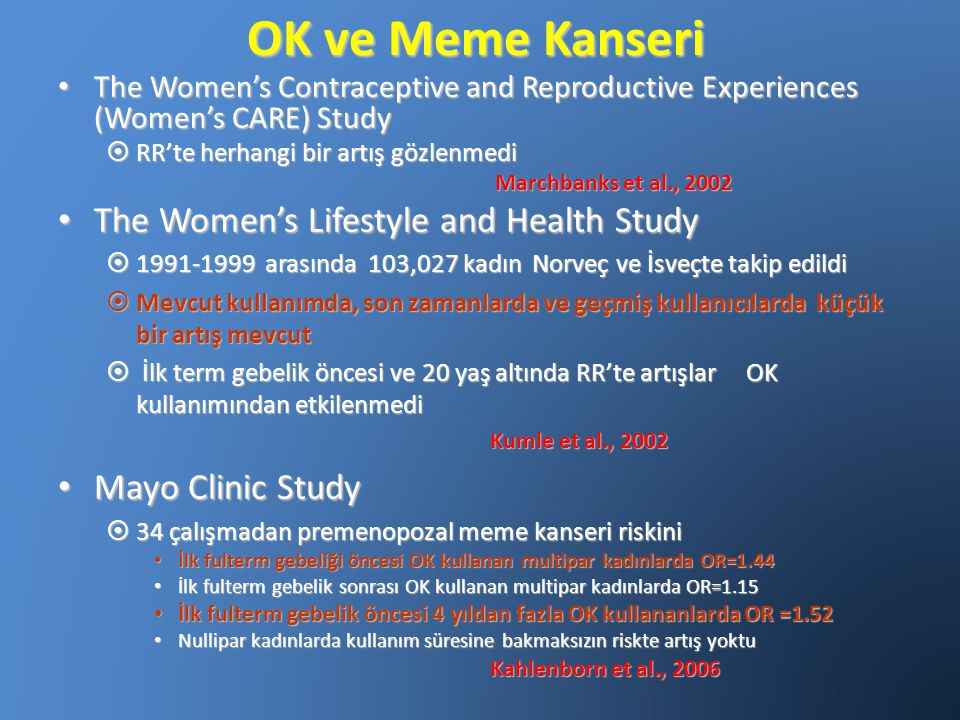 OK ve Meme Kanseri The Women's Contraceptive and Reproductive Experiences (Women's CARE) Study The Women's Contraceptive and Reproductive Experiences
