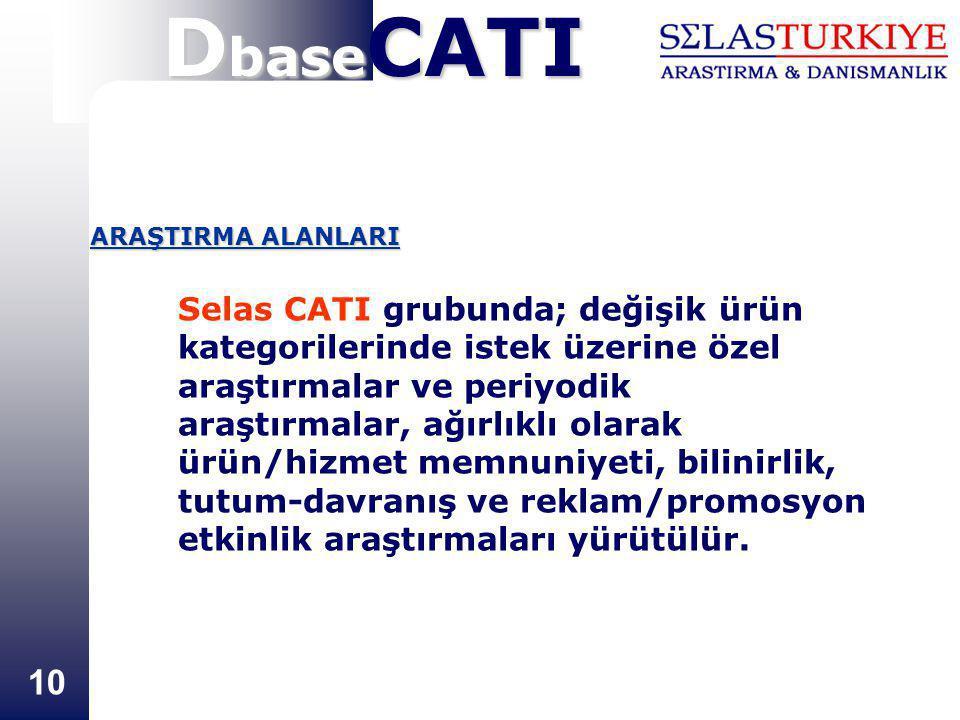 10 Selas CATI grubunda; değişik ürün kategorilerinde istek üzerine özel araştırmalar ve periyodik araştırmalar, ağırlıklı olarak ürün/hizmet memnuniyeti, bilinirlik, tutum-davranış ve reklam/promosyon etkinlik araştırmaları yürütülür.