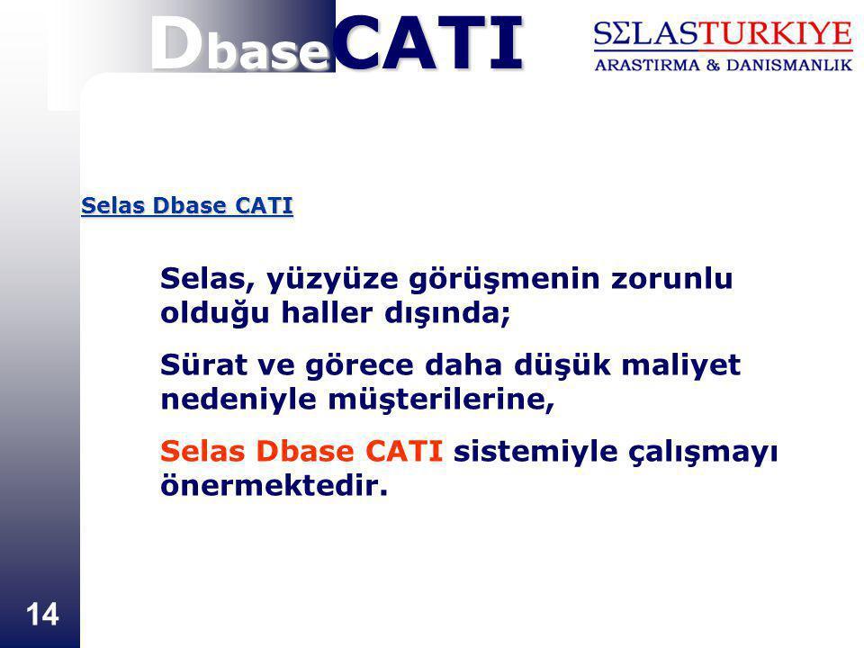 14 Selas Dbase CATI Selas, yüzyüze görüşmenin zorunlu olduğu haller dışında; Sürat ve görece daha düşük maliyet nedeniyle müşterilerine, Selas Dbase C