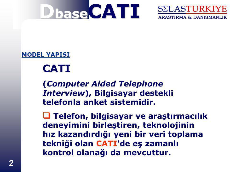 2 MODEL YAPISI CATI (Computer Aided Telephone Interview), Bilgisayar destekli telefonla anket sistemidir.  Telefon, bilgisayar ve araştırmacılık dene