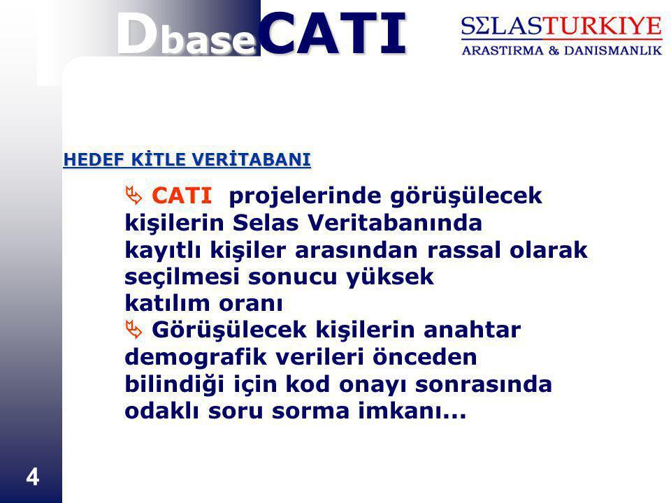 4  CATI projelerinde görüşülecek kişilerin Selas Veritabanında kayıtlı kişiler arasından rassal olarak seçilmesi sonucu yüksek katılım oranı  Görüşü
