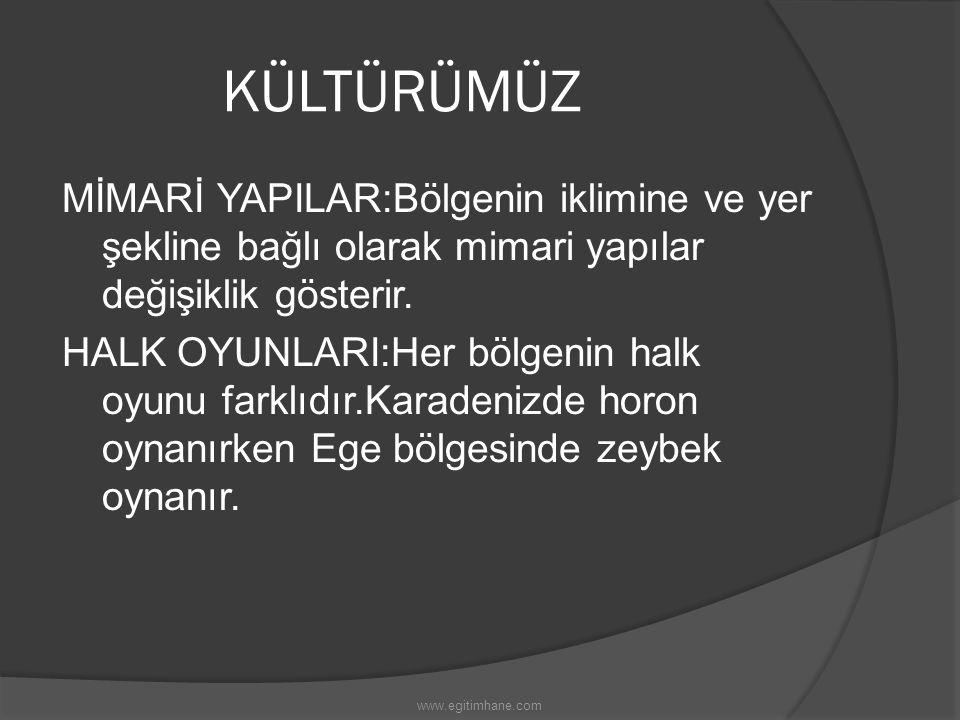 KÜLTÜRÜMÜZ YEMEKLERİMİZ:Türk mutfağı dünyanın sayılı mutfaklarından biridir.Her bölgenin kendine özgü yemekleri vardır. GİYSİLERİMİZ:Bölgeden bölgeye