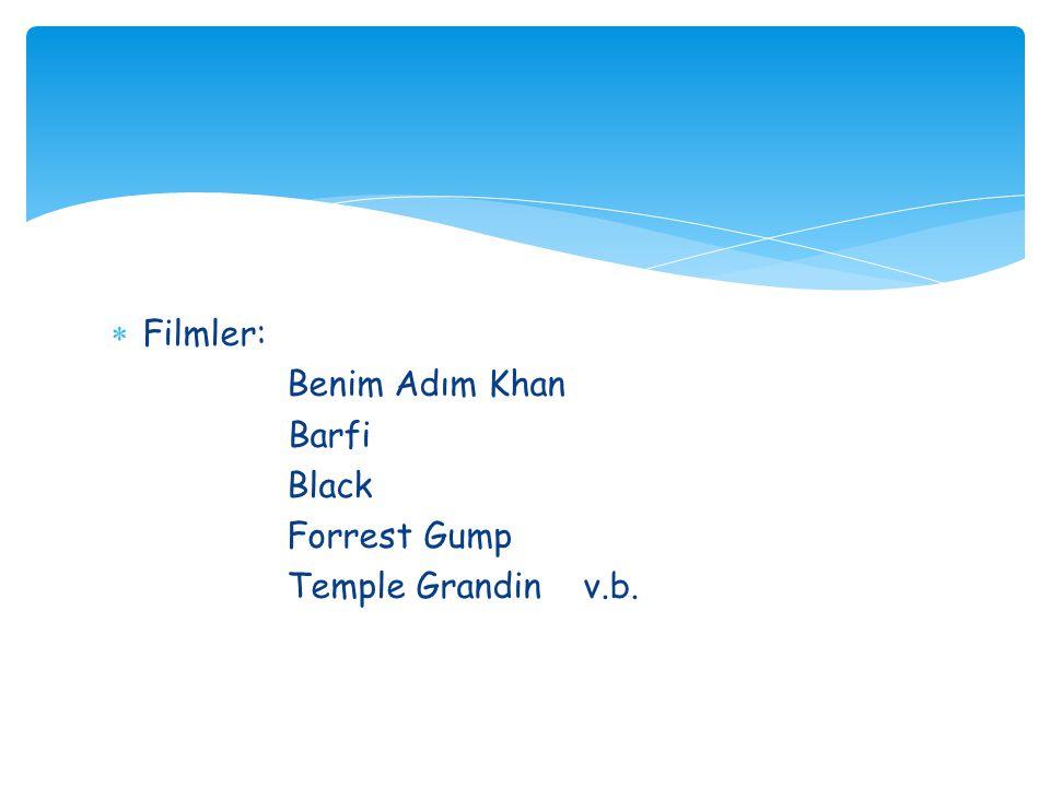  Filmler: Benim Adım Khan Barfi Black Forrest Gump Temple Grandin v.b.