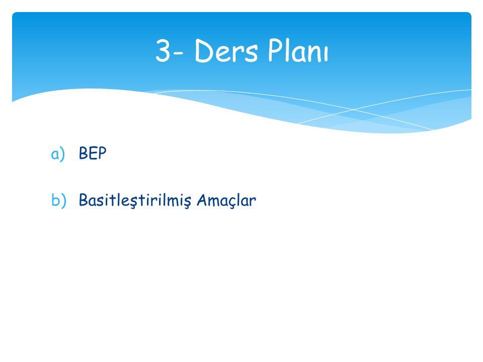 a)BEP b)Basitleştirilmiş Amaçlar 3- Ders Planı