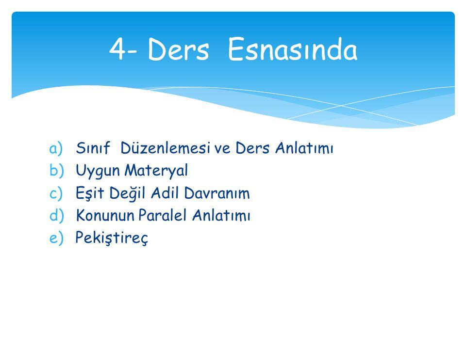 a)Sınıf Düzenlemesi ve Ders Anlatımı b)Uygun Materyal c)Eşit Değil Adil Davranım d)Konunun Paralel Anlatımı e)Pekiştireç 4- Ders Esnasında