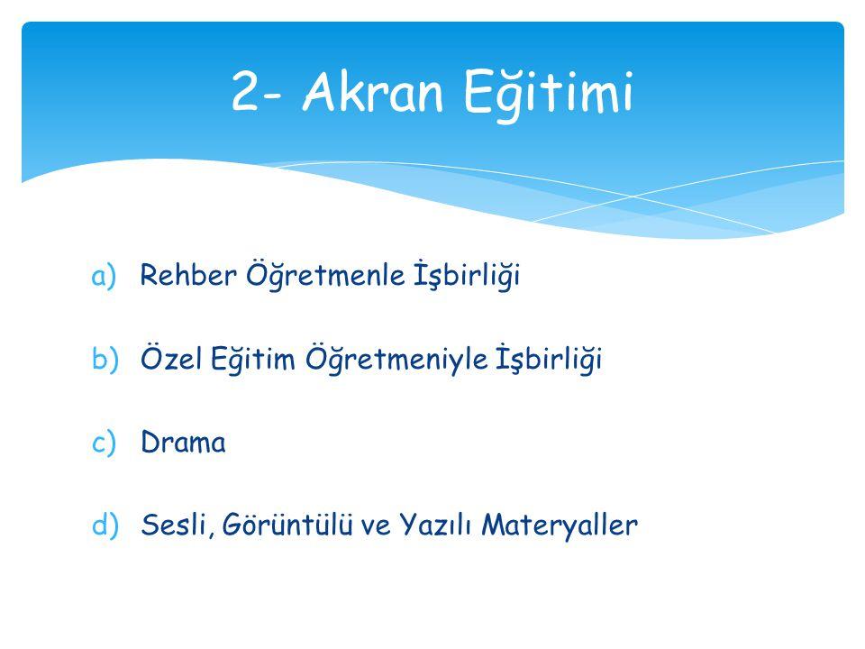 a)Rehber Öğretmenle İşbirliği b)Özel Eğitim Öğretmeniyle İşbirliği c)Drama d)Sesli, Görüntülü ve Yazılı Materyaller 2- Akran Eğitimi