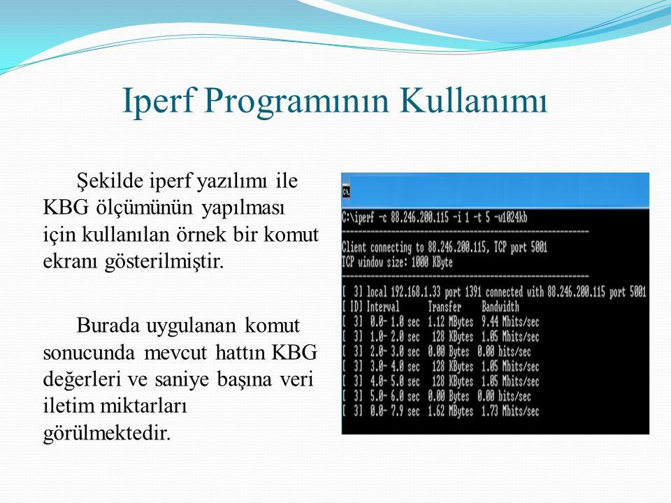 Iperf Programının Kullanımı Şekilde iperf yazılımı ile KBG ölçümünün yapılması için kullanılan örnek bir komut ekranı gösterilmiştir. Burada uygulanan