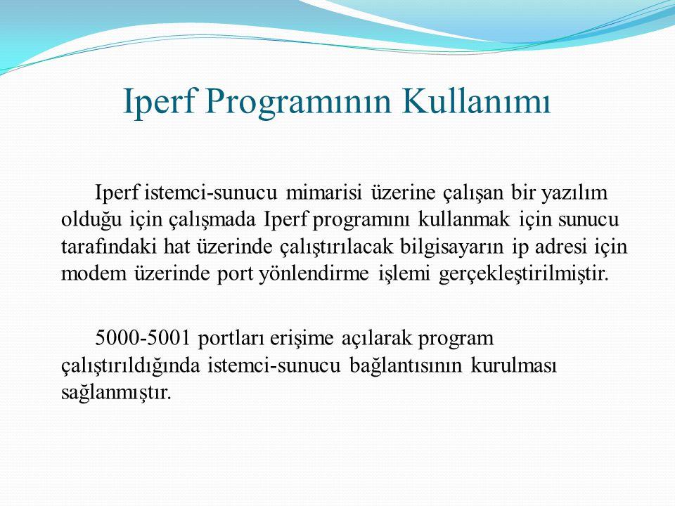 Iperf Programının Kullanımı Iperf istemci-sunucu mimarisi üzerine çalışan bir yazılım olduğu için çalışmada Iperf programını kullanmak için sunucu tar