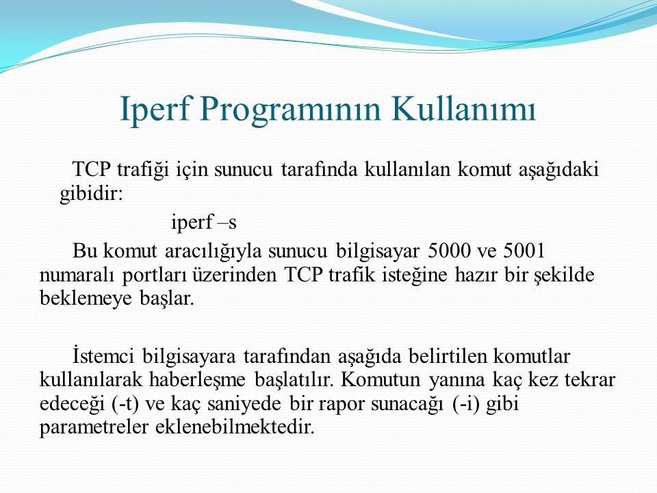 Iperf Programının Kullanımı TCP trafiği için sunucu tarafında kullanılan komut aşağıdaki gibidir: iperf –s Bu komut aracılığıyla sunucu bilgisayar 500