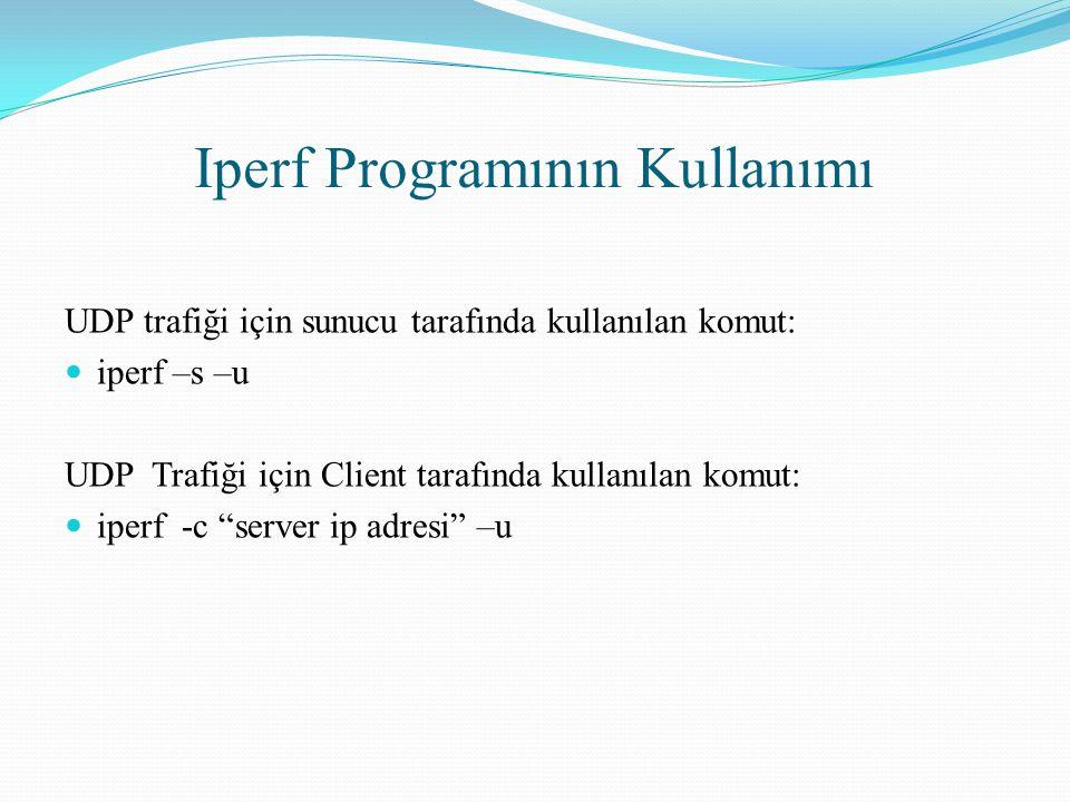 Iperf Programının Kullanımı UDP trafiği için sunucu tarafında kullanılan komut: iperf –s –u UDP Trafiği için Client tarafında kullanılan komut: iperf