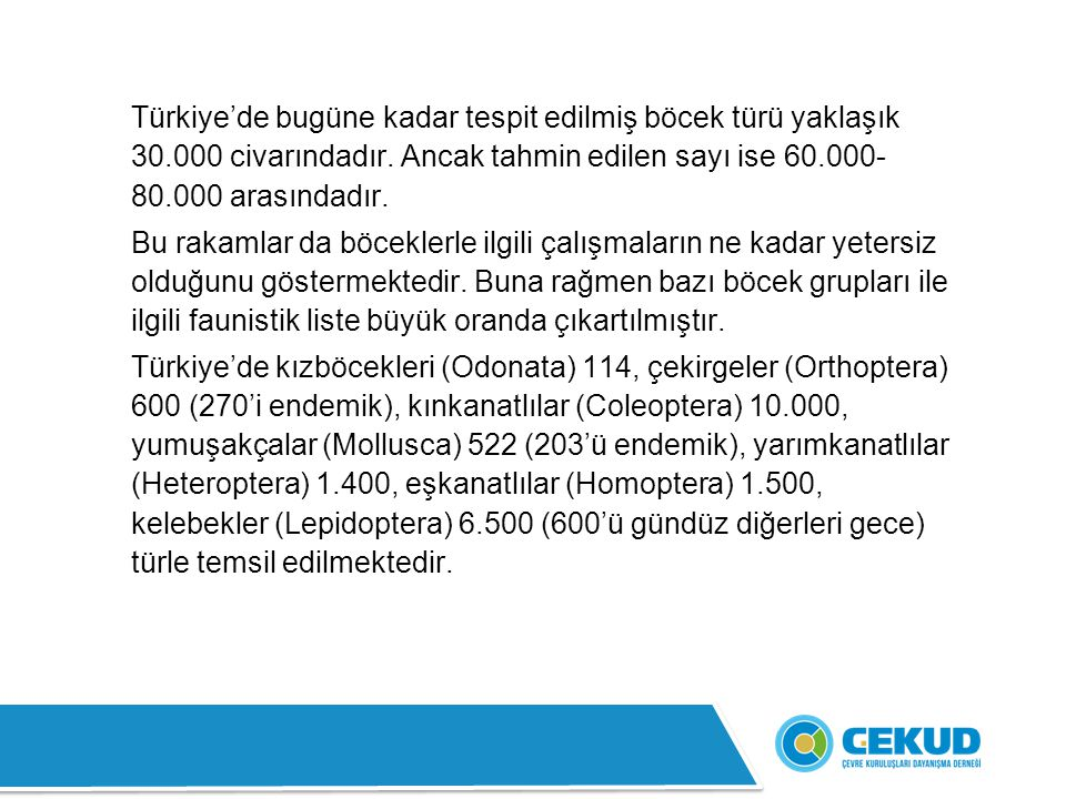 Türkiye'de bugüne kadar tespit edilmiş böcek türü yaklaşık 30.000 civarındadır. Ancak tahmin edilen sayı ise 60.000- 80.000 arasındadır. Bu rakamlar d