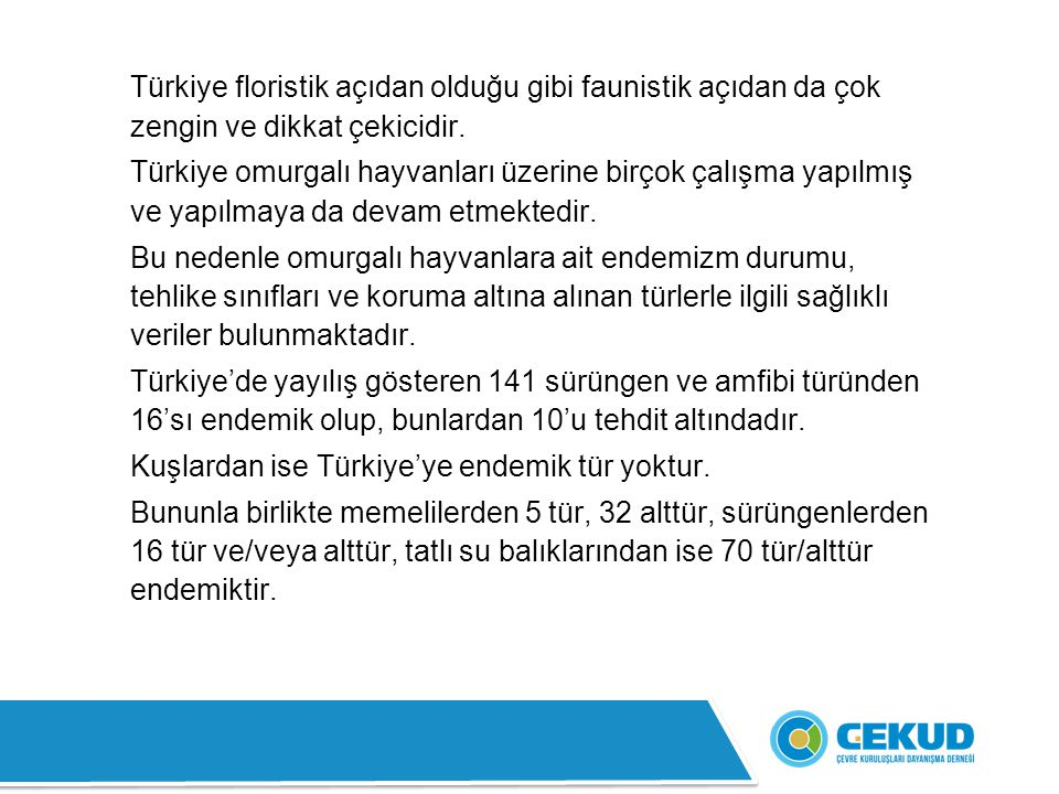 Türkiye floristik açıdan olduğu gibi faunistik açıdan da çok zengin ve dikkat çekicidir. Türkiye omurgalı hayvanları üzerine birçok çalışma yapılmış v