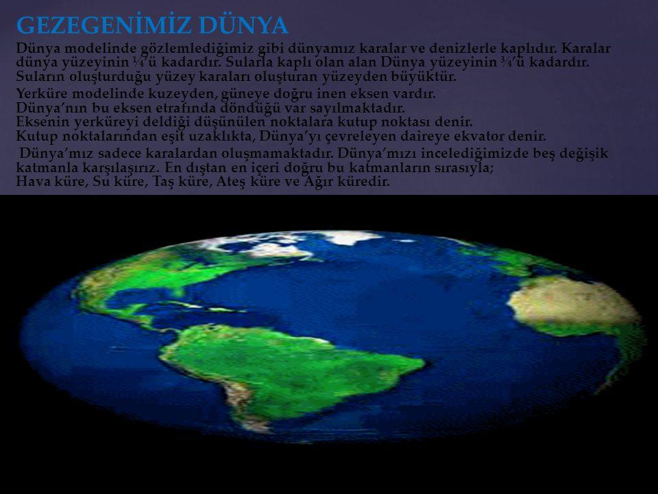 GEZEGENİMİZ DÜNYA Dünya modelinde gözlemlediğimiz gibi dünyamız karalar ve denizlerle kaplıdır. Karalar dünya yüzeyinin ¼'ü kadardır. Sularla kaplı ol