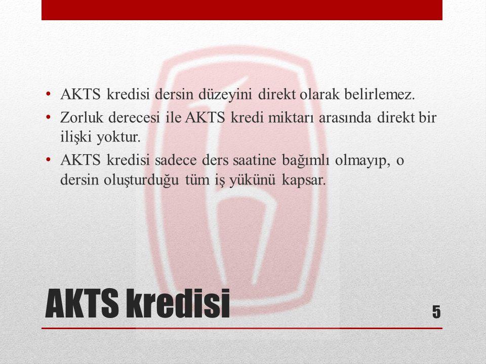 AKTS kredisi AKTS kredisi dersin düzeyini direkt olarak belirlemez. Zorluk derecesi ile AKTS kredi miktarı arasında direkt bir ilişki yoktur. AKTS kre