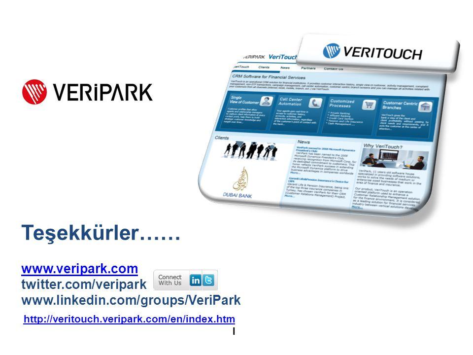24 http://veritouch.veripark.com/en/index.htm http://veritouch.veripark.com/en/index.htm l Teşekkürler…… www.veripark.com twitter.com/veripark www.linkedin.com/groups/VeriPark
