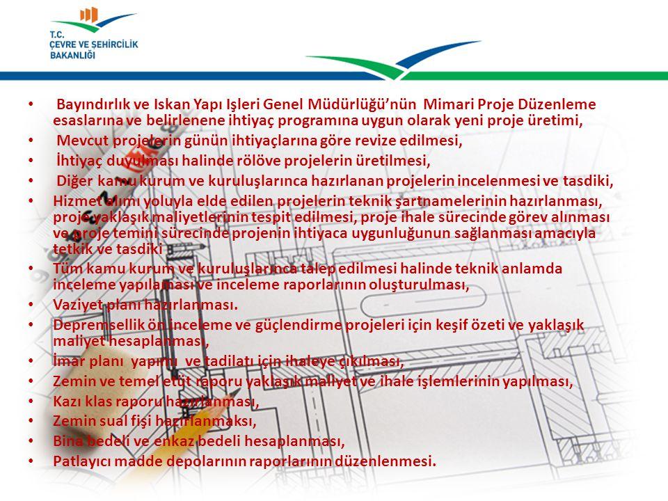 Bayındırlık ve İskan Yapı İşleri Genel Müdürlüğü'nün Mimari Proje Düzenleme esaslarına ve belirlenene ihtiyaç programına uygun olarak yeni proje üreti