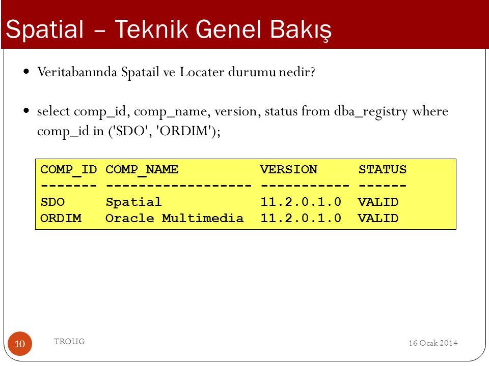16 Ocak 2014 TROUG 10 Veritabanında Spatail ve Locater durumu nedir? select comp_id, comp_name, version, status from dba_registry where comp_id in ('S