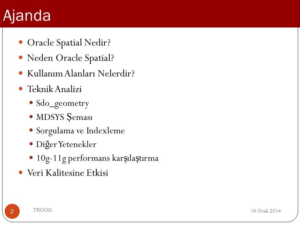 Ajanda 16 Ocak 2014 TROUG 2 Oracle Spatial Nedir? Neden Oracle Spatial? Kullanım Alanları Nelerdir? Teknik Analizi Sdo_geometry MDSYS Ş eması Sorgulam