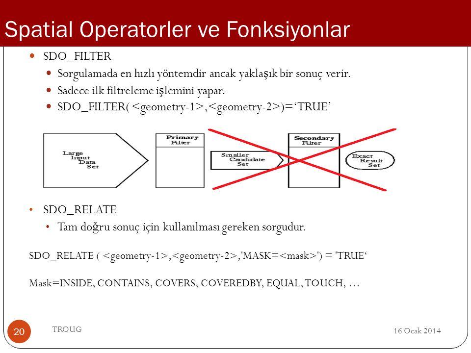 16 Ocak 2014 TROUG 20 SDO_FILTER Sorgulamada en hızlı yöntemdir ancak yakla ş ık bir sonuç verir. Sadece ilk filtreleme i ş lemini yapar. SDO_FILTER(,