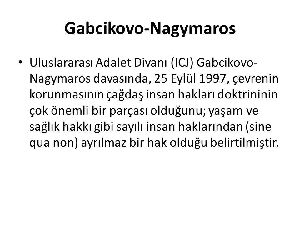 Gabcikovo-Nagymaros Uluslararası Adalet Divanı (ICJ) Gabcikovo- Nagymaros davasında, 25 Eylül 1997, çevrenin korunmasının çağdaş insan hakları doktrininin çok önemli bir parçası olduğunu; yaşam ve sağlık hakkı gibi sayılı insan haklarından (sine qua non) ayrılmaz bir hak olduğu belirtilmiştir.