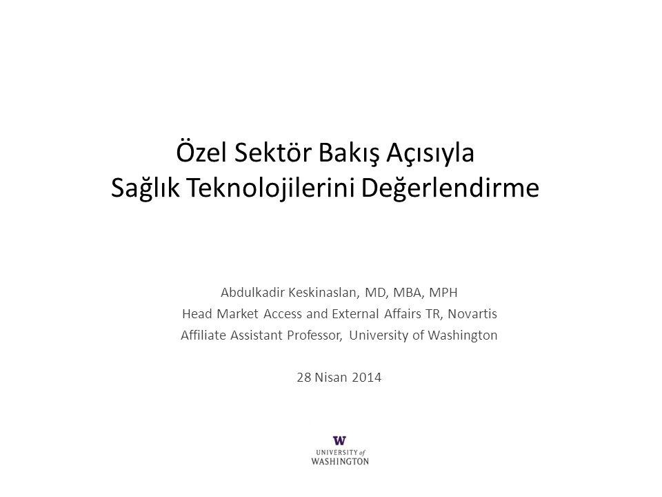 Özel Sektör Bakış Açısıyla Sağlık Teknolojilerini Değerlendirme Abdulkadir Keskinaslan, MD, MBA, MPH Head Market Access and External Affairs TR, Novar
