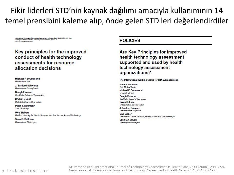 Fikir liderleri STD'nin kaynak dağılımı amacıyla kullanımının 14 temel prensibini kaleme alıp, önde gelen STD leri değerlendirdiler Drummond et al. In